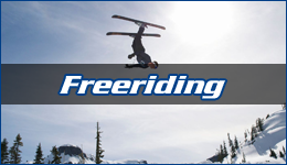 Freeriding written across an upside down skier flying through the air