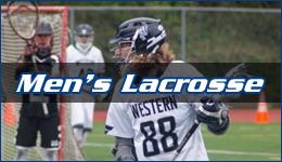 Men's Lacrosse written across WWU player cradling the ball as the opposing goalie looks on from the net