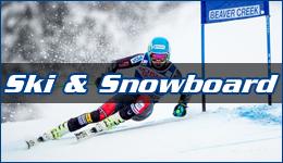 Ski&Snowboard written across a downhill ski racer leaning into a turn flying past a Beaver Creek slalom gate