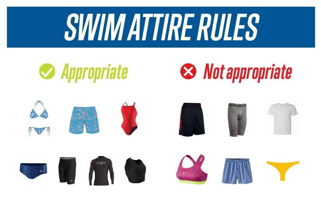 Swim Attire Rules No gym shorts, underwear, t-shirts, sports bras, thongs or boxer shorts
