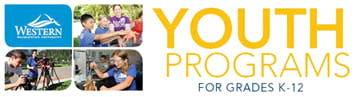Youth Programs for grades K-12 with the WWU logo and 3 photos of kids enjoying camp activities.