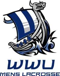 WWU Viking boat logo above WWU Men's Lacrosse