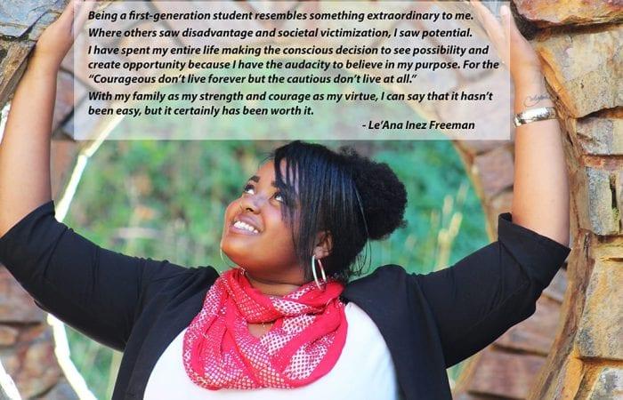 Le'Ana Inez Freeman with quote