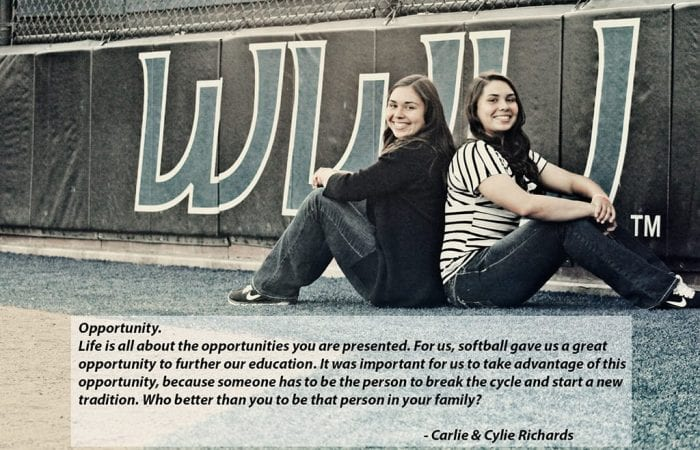 Carlie Richards and Cylie Richards with quote
