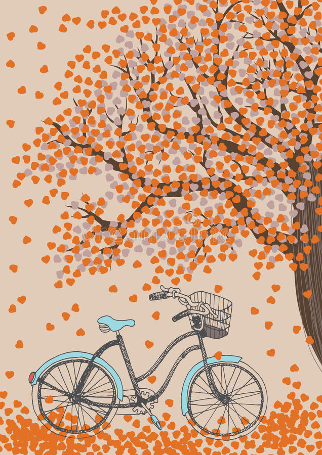 Wimsical graphic of 50s style bike underneath tree with orange leaves