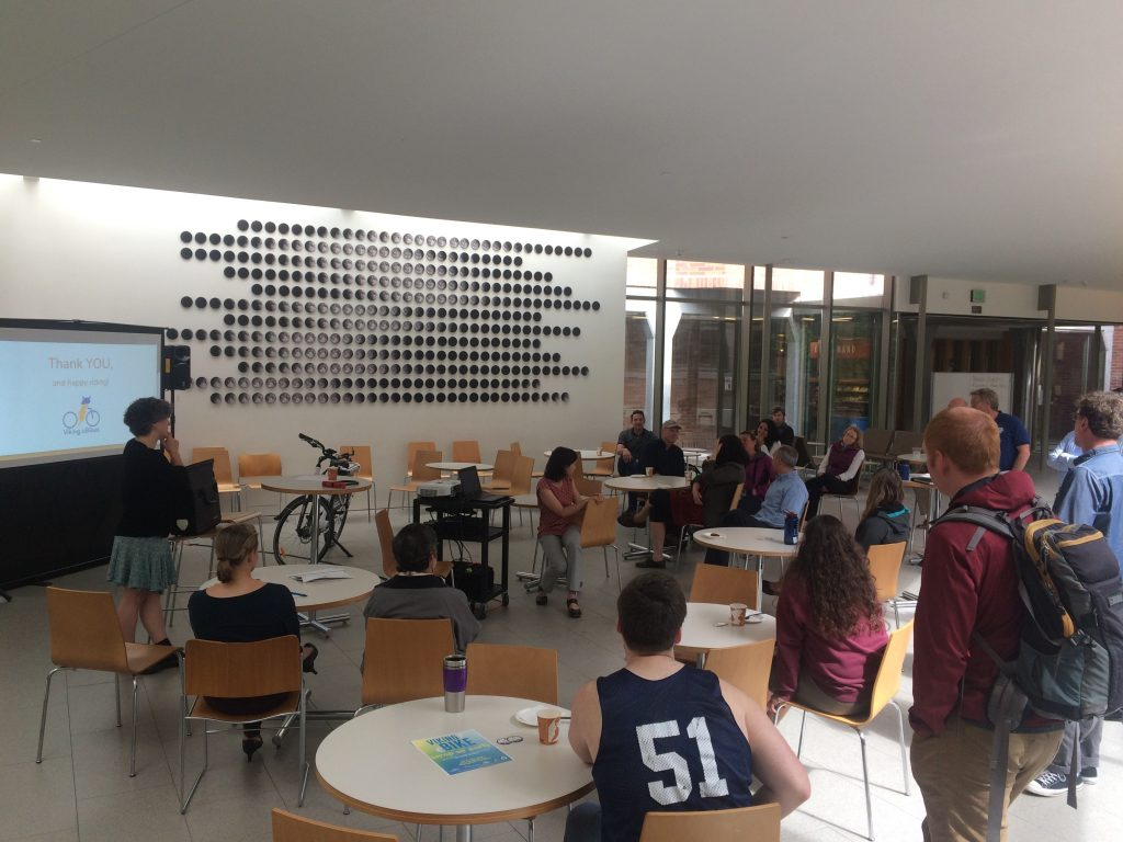 WWU students attending an e-bike presentation in he Miller collaborative space.