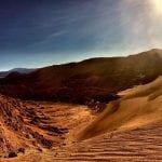 Sun over a desert landscape
