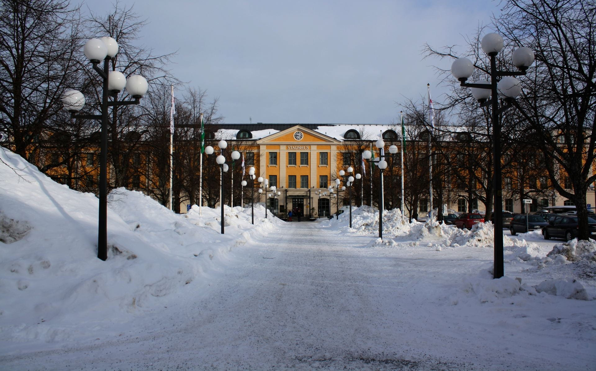 The City Hall in Umeå, Sweden in the snow.