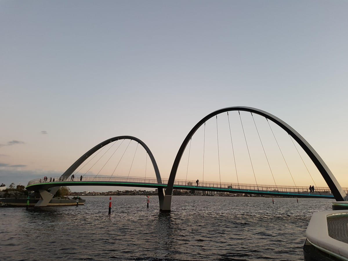 Elizabeth Quay Bridge in Perth at sunset.