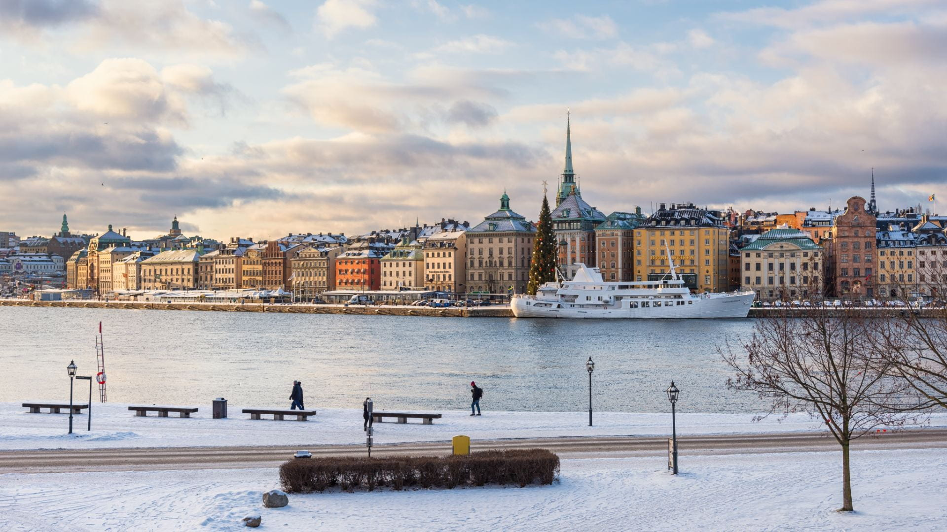 A view of Stockholm across the water in winter.