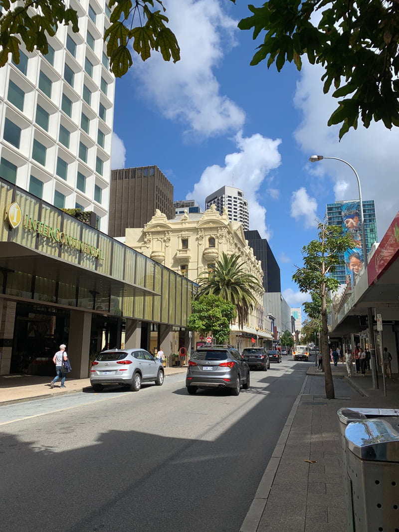 A view down the street in central Perth.