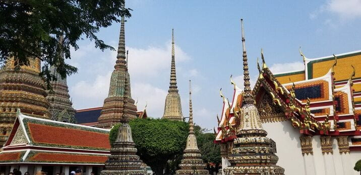 A view of temple spires in Bangkok, Thailand
