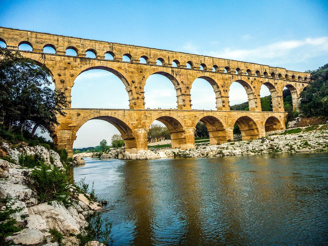 A Roman aqueduct over a river in Southern France
