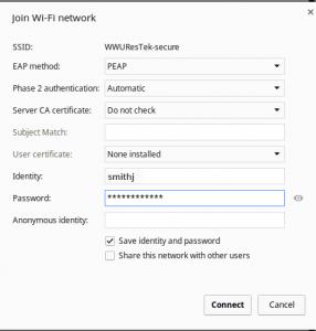 Chromebook filled wifi settings