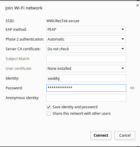Chromebook network details