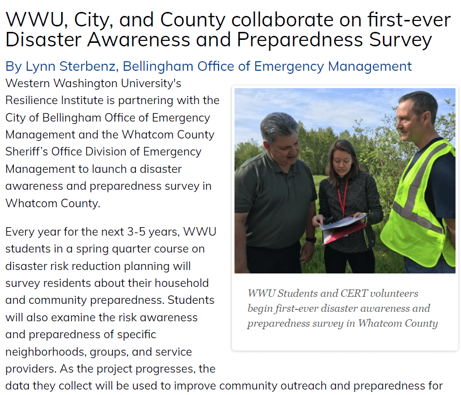 'WWU, City, and County collaborate on first-ever Disaster Awareness and Preparedness Survey' article preview