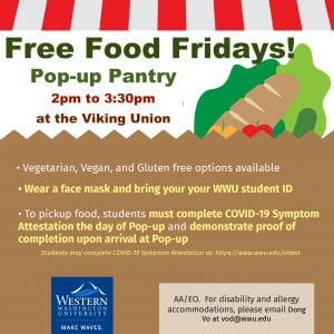 Square poster announcing the free Pop-Up Pantry every Friday from 2-3:30pm at the Viking Union