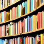 Rows of colorful books on