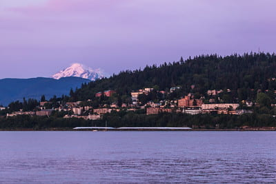 View of WWU and Sehome Hill from Bellingham Bay