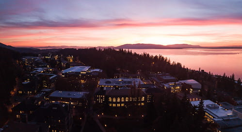 Panorama photo of WWU at night on city side from afar