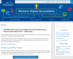 Screen shot of Western Digital Accessibility homepage with main content and sidebar
