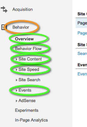 Google Analytics Behavior Reports