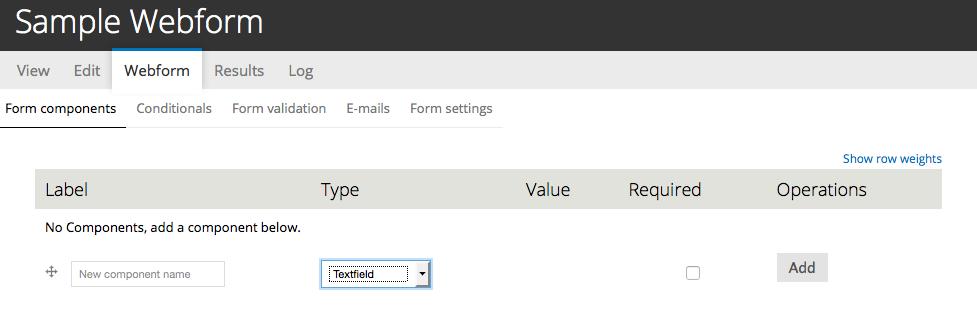 Drupal webform, sample webform 1