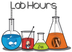 Logos of Drupal, Jenkins, DreamWeaver, and WordPress in different sized beakers.