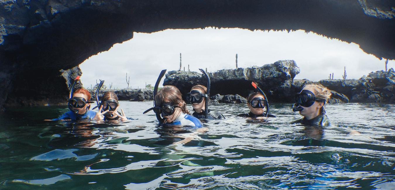 Students snorkel in Ecuador