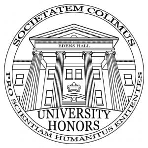 "Graphic of Edens Hall, the seal of the Honors Program with the Honors saying ""Societatem Colimus Pro Scientiam Humanitus Enitentes"" encompassing it"
