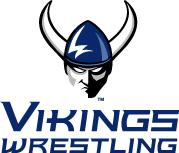 WWU Angry Viking Head logo above Vikings Wrestling