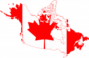 Map of Canada with Flag