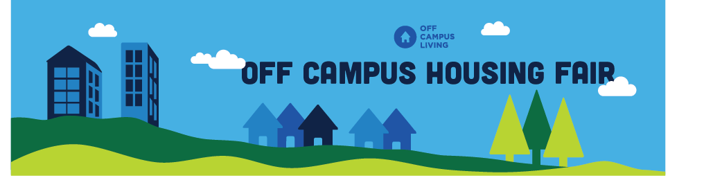 Off Campus Housing Fair graphic with buildings and trees