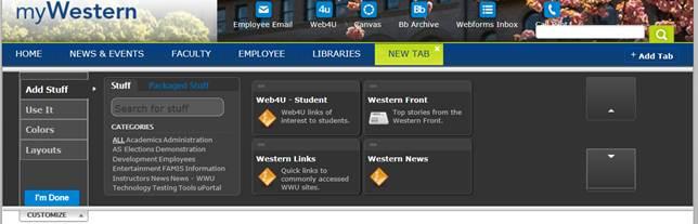 myWestern new tab