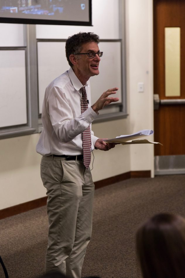 Jonathan Zimmerman speaks about freedom of speech on campus, Dec. 1, 2017. He is a professor at the University of Pennsylvania. Hailey Hoffman // AS Review