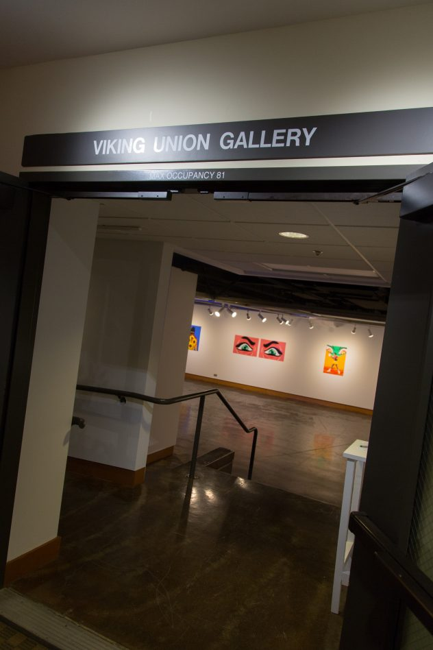 The entrance to the Viking Union gallery with the doors open.