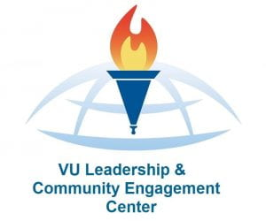 Logo torch and globe fore VU Leadership & Community Engagement Center