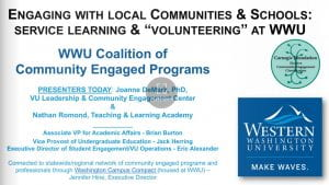 Graphic of Title slide of booklet on Community Engaged Programs