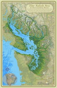 Map of the Salish Sea & Surrounding Basin, Stefan Freelan, WWU, 2009