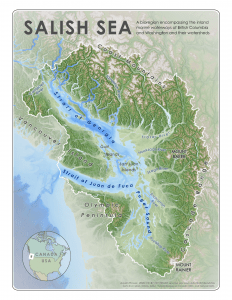 Salish Sea Bioregion Physical Geography Reference Map 8x11