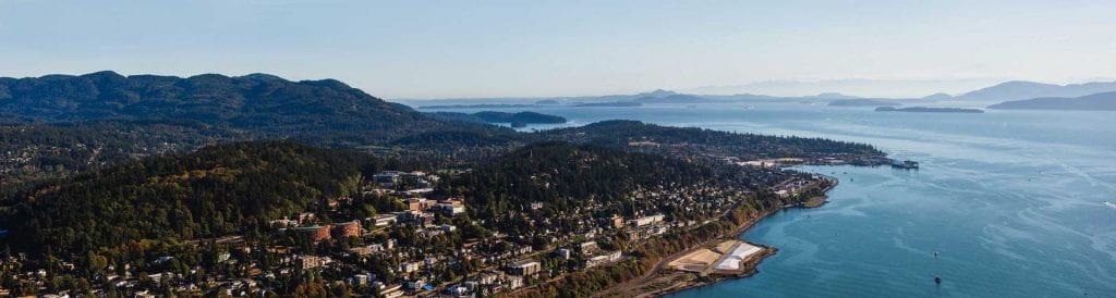 aerial view of Bellingham Bay