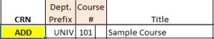 Image: Adding a New Course - CRN Field