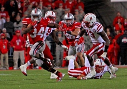 OSU junior running back Carlos Hyde runs the ball in an Oct. 6 game against Nebraska in Ohio Stadium. Hyde ran the ball for 140 yards and four touchdowns on 28 attempts. OSU won, 63-38.