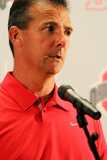 Urban Meyer speaks to the media during Ohio State's football media day Aug. 11.