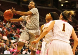 OSU sophomore guard Ameryst Alston attempts a layup against Minnesota during a game on Feb. 21 at the Schottenstein Center. OSU lost, 57-56.