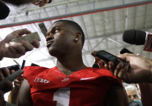 Freshman running back Dontre Wilson answers questions during Ohio State's football media day August 11.