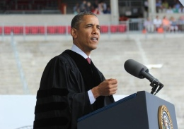 President Barack Obama gave the address at the OSU Spring Commencement 2013 ceremony on May 5 at Ohio Stadium. Obama's speech largely focused on citizenship and the need to increase voter awareness.