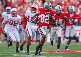 Former Ohio State player Ray Small (82) out runs the Wisconsin defense for a touchdown on a kick-off return in the third quarter of their NCAA college football game at The Ohio Stadium, Saturday, October 10, 2009, in Columbus, Ohio.