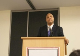Ind. representative André Carson speaks to the Muslim Students' Association at the Ohio Union on May 3.