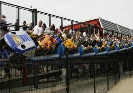 The Millennium Force roller coaster at Cedar Point in Sandusky, Ohio.